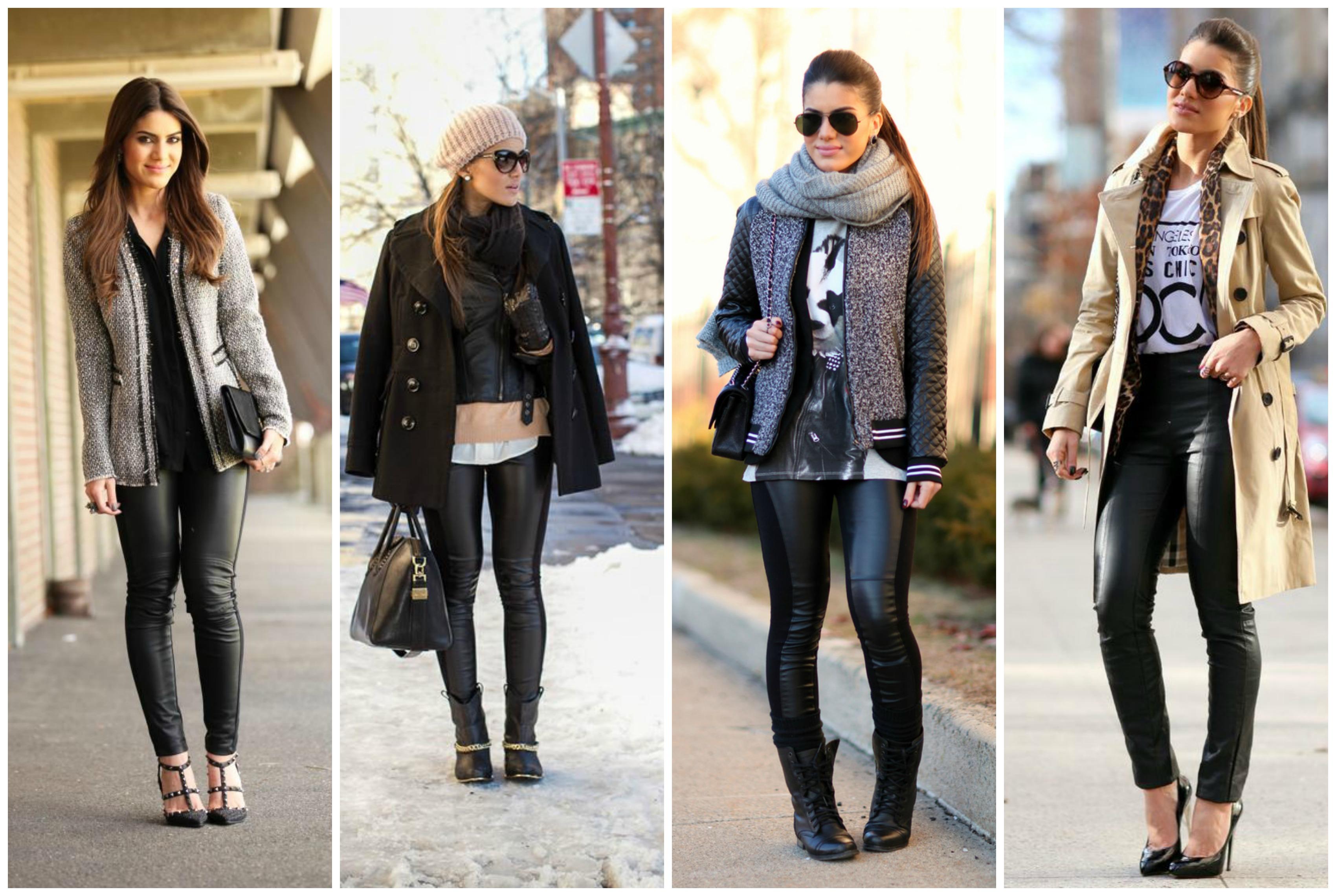 Resultado de imagem para look de inverno calça estilo couro