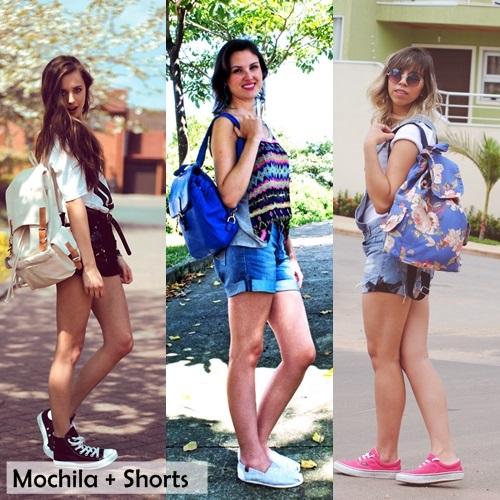 shorts e mochila