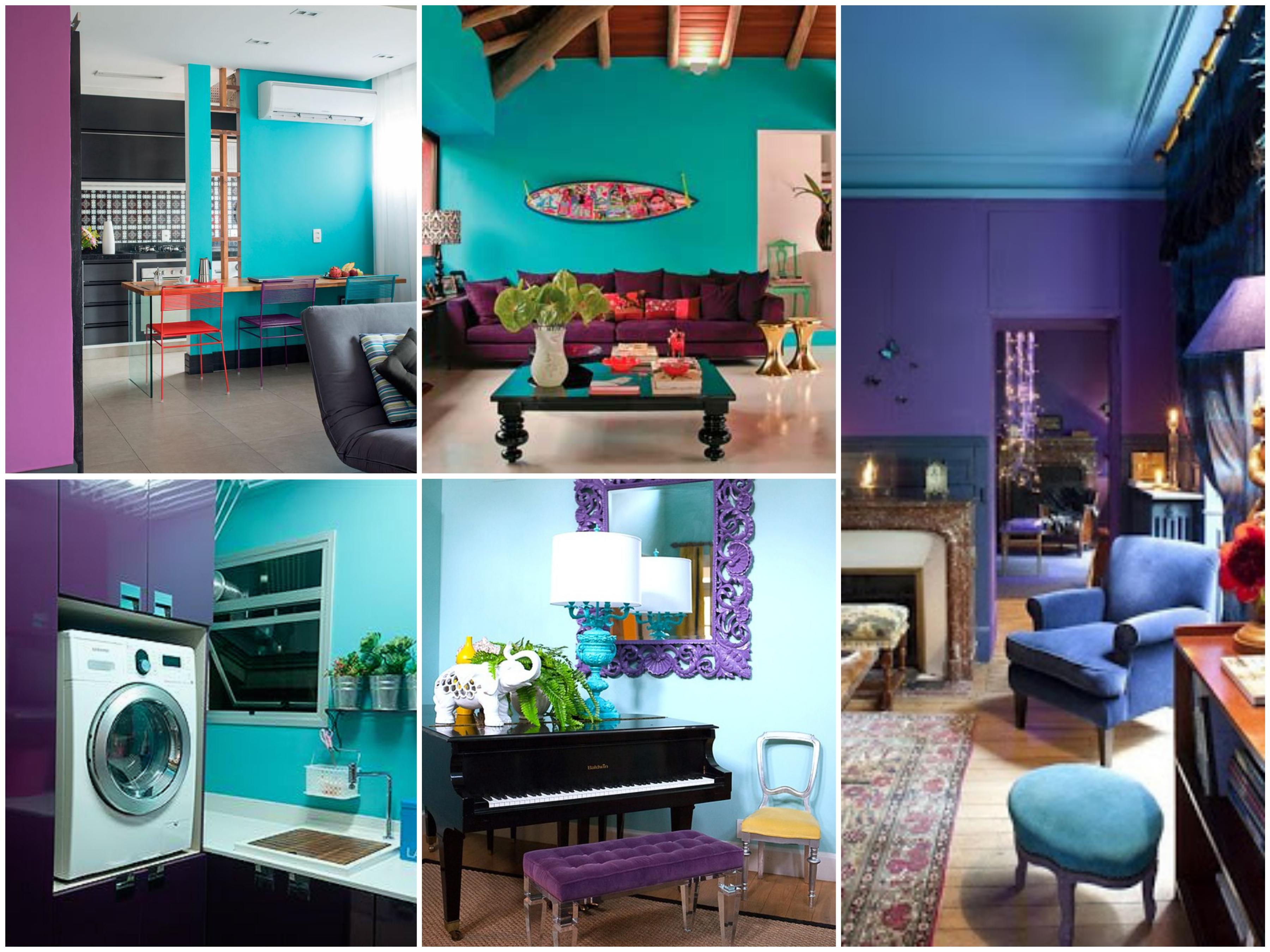 Quarto Azul Turquesa E Roxo Redival Com ~ Projeto De Quarto De Solteiro E Quarto Roxo E Verde Agua